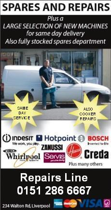 Does your machine need repairing? We call out to Liverpool and Merseyside - fast, great rates - warranty guaranteed!
