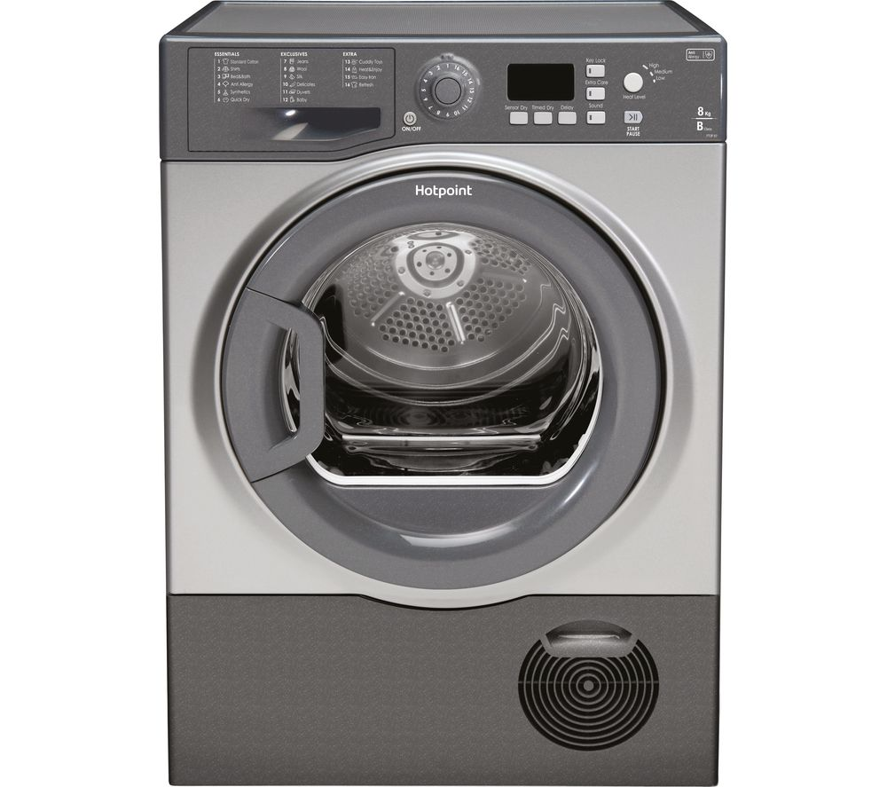 Hotpoint Aquarius TVFS 83C GG Front-Loading vented Electric Dryer - 8 kg - Graphite